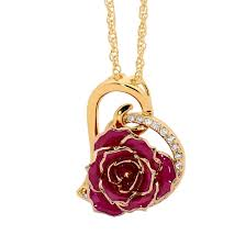 Gold Rose Gold Dipped Rose U0026 Purple Matched Jewelry Set In Heart Theme
