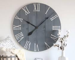 large wall clock farmhouse wall clock etsy