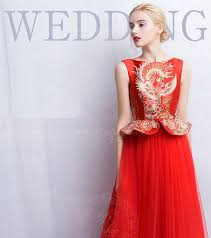 Chinese Wedding Dress Red Chinese Wedding Dress With Phoenix Pattern Custom Made