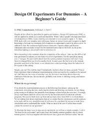 Design Of Experiments Doe Design Of Experiments For Dummies U2013 A Beginner U0027s Guide