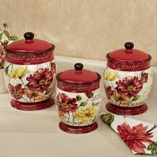 kitchen diamond 3 piece canister set with diamond 3 piece le fleur poppies canister set red set of three set of 3 floral kitchen canisters gloss