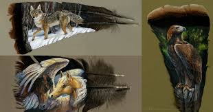 turkey feather painting this painter uses turkey feathers as canvas twistedsifter