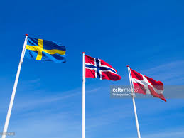 Flag Of Norway The Raised Flags Or Norway Sweden And Denmark Stock Photo Getty