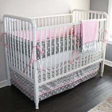 pink and grey crib bumper 4575