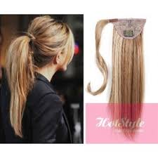 extensions hair clip in human hair ponytail wrap hair extension 24