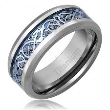 mens blue wedding bands mens celtic titanium wedding ring engagement band blue 8