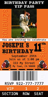 sports ticket invitation mis 2 manos made by my hands football party ticket invitations