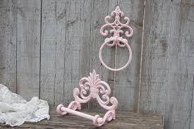 bath tissue holder towel ring shabby chic pink bathroom set