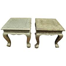 turn of the century indian hammered silver side table with queen