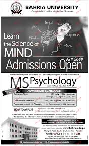 M S University by Bahria University Admission In Ms Psychology 2017 Government