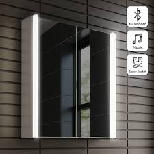wall hung illuminated led bathroom mirror cabinet with bluetooth