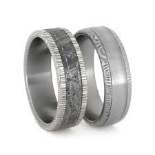 damascus steel wedding band damascus wedding bands with steel and meteorite