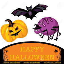 cute halloween images greeting card with cute halloween bat spider and pumpkin royalty