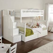 bedroom low profile white wooden bunk bed with stairs combined