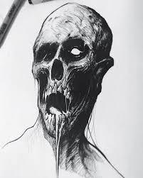 zombie inktober drawlloween zombie sketch pen ink