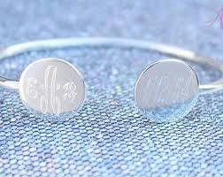 Monogrammed Bangle Bracelet Monogram Bangle Etsy