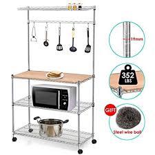 Bakers Rack Amazon Amazon Com Yaheetech 4 Tier Rolling Chrome Baker U0027s Rack Shelf