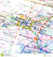 Oklahoma State Map Travel Map Of Oklahoma Around Tulsa Stock Photo Image 42374196