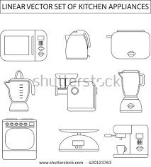 Microwave And Toaster Set Set Linear Vector Kitchen Appliances Microwave Stock Vector