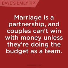 marriage is a partnership and couples can u0027t win with money unless
