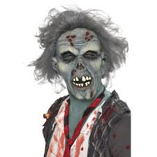 halloween face masks mens grey scary decaying zombie halloween face mask 36852