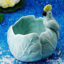 parrot home decor ceramic creative parrot flowers vase pot candle holder home decor
