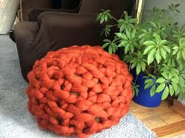 ottomans cable knit pouf ottoman chunky pattern knitted world