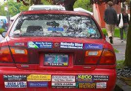100 bumper stickers stuff white like
