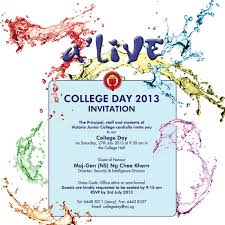 Guest Invitation Card Invitation To Vjc College Day 2013 Old Victorians U0027 Association