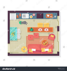 living room kitchen floor plan top stock vector 506285242