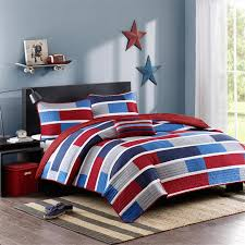 red navy blue striped teen boy bedding twin xl full queen quilt
