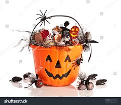 halloween white background trick treat halloween bucket filled candies stock photo 62153692