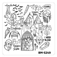 halloween nail stamp plates house of horrors blood suckers