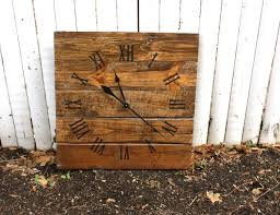 large wall clock rustic reclaimed pallet wood custom warm
