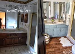 Bathroom Cheap Makeover Wonderful Master Bathroom Budget Makeover Builder Grade To Rustic