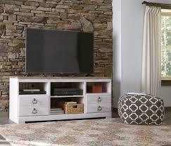 willowton whitewash lg tv stand w fireplace option w267 68
