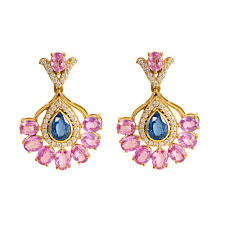 gold earrings magnificent diamond pink sapphire kyanite gold earrings