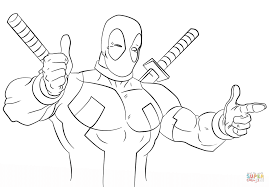 deadpool making heart shape with hands coloring page and coloring