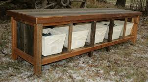 Bench With Storage Baskets by Furniture Entryway Bench With Storage Baskets U0026 Cushions