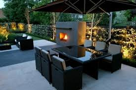Modern Patio Lighting Glossy Black Dining Table With Wicker Chairs Using Chic Outdoor