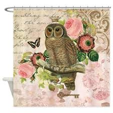 Owl Fabric Shower Curtain Vintage French Shabby Chic Owl Shower Curtain Owl Shower Shabby
