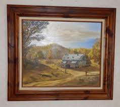 painting artwork on wood vtg 20x24 painting on canvas by e howe wood frame barn