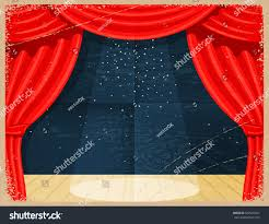 Curtain Cartoon by Vintage Cartoon Theater Theater Curtain Spotlights Stock Vector
