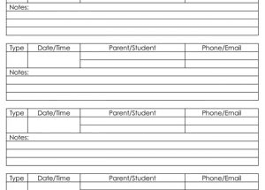 parent contact log templates for excel u2013 printable documents