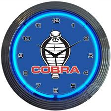 ford mustang cobra logo neon clock vintage style neon clocks
