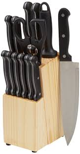 amazonbasics 14 piece knife set with block cutlery pinterest