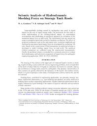seismic analysis of hydrodynamic sloshing force on storage tank