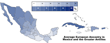 Map Mexico States by Average European Ancestry In Mexican States And The Greater