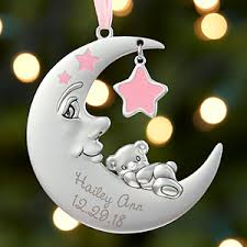 christmas personalized baby girl christmas ornament personalized moon