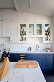 Blue Cabinets Kitchen by Go Halfsies In Your Kitchen With Bi Colored Cabinets